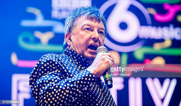 Music presenter Stuart Maconie introduces Laura Marling for her headline set on the third day of the BBC 6 Music Festival at Colston Hall on February...
