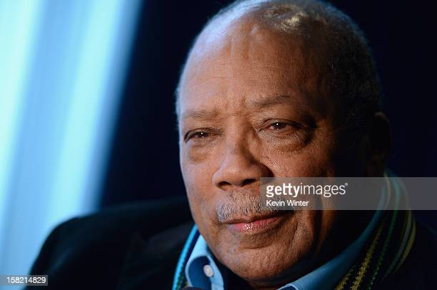 Music producer and Ahmet Ertegun Award recipient Quincy Jones attends the Rock and Roll Hall of Fame 2013 Inductees announcement at Nokia Theatre LA...