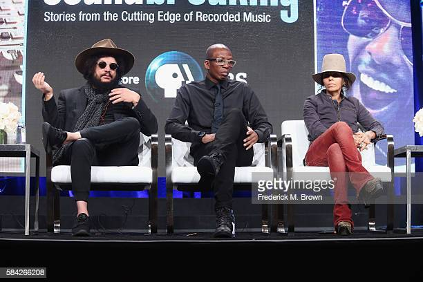 Music producer and songwriter Don Was music producer Hank Shocklee and music producer and songwriter Linda Perry speak onstage during the...