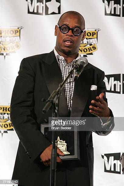 Music producer Andre Hurrell poses with his award in the press room at the 4th Annual VH1 Hip Hop Honors ceremony at the Hammerstein Ballroom on...