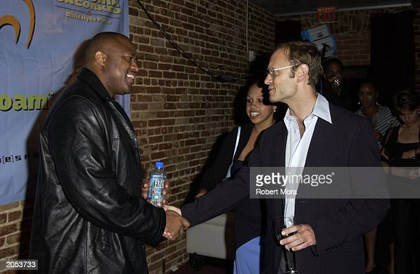 Music producer Big Tank and actor David Hyde Pierce attend a wine tasting and CD release party for Sonoma Uncorked narrated by David Hyde Pierce at...
