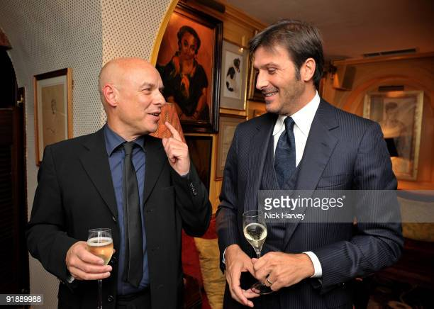 S SALES Music producer Brian Eno and Andrea Perrone attend a private dinner for Brioni hosted by Bryan Ferry at Annabel's on October 14 2009 in...