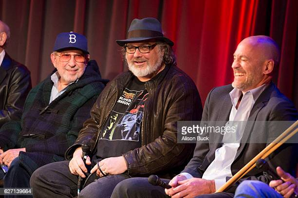 Music producer Brooks Arthur editor/producer Bob Sarles and Brett Berns onstage during Bert Berns Event at The GRAMMY Museum on December 1 2016 in...