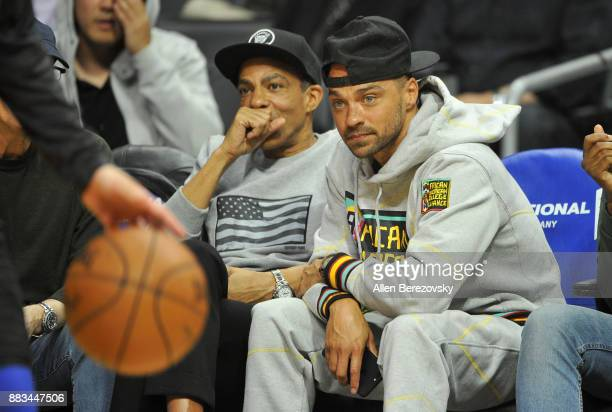 Music producer Chris Ivery and actor Jesse Williams attend a basketball game between the Los Angeles Clippers and the Utah Jazz at Staples Center on...