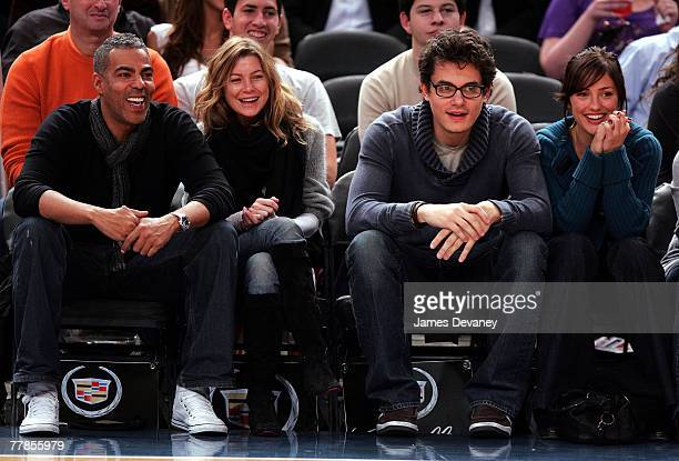 Music producer Christopher Ivery actress Ellen Pompeo musician John Mayer and actress Minka Kelly attend NY Knicks vs Miami Heat game at Madison...