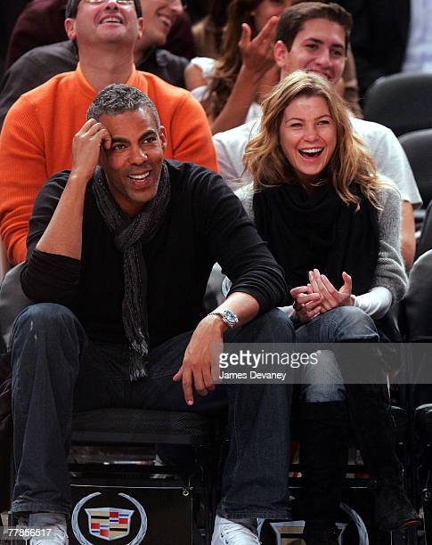 Music producer Christopher Ivery and actress Ellen Pompeo attend NY Knicks vs Miami Heat game at Madison Square Garden in New York City on November...