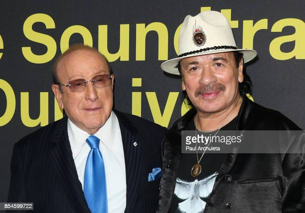 Music Producer Clive Davis and Recording Artist Carlos Santana attend the premiere of Apple Music's 'Clive Davis The Soundtrack Of Our Lives' at...
