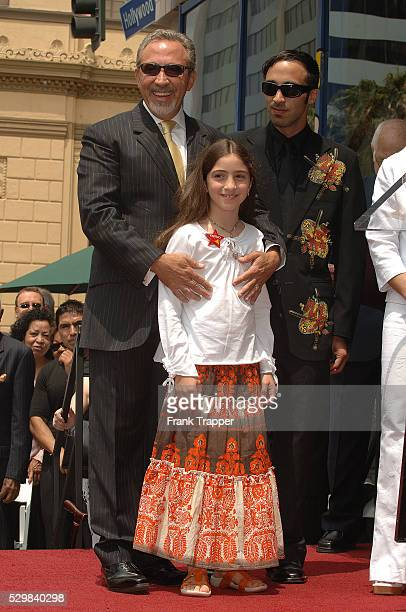 Music producer Emilio Estefan and children Emily Marie Estefan and Nayib Estefan at Emilio's star ceremony on the Hollywood Walk of Fame
