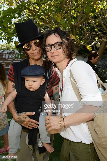 Music producer Linda Perry and actress Sara Gilbert attend Amazon Video's Tumble Leaf Family Fun Day hosted by Au Fudge on September 13 2015 in Los...