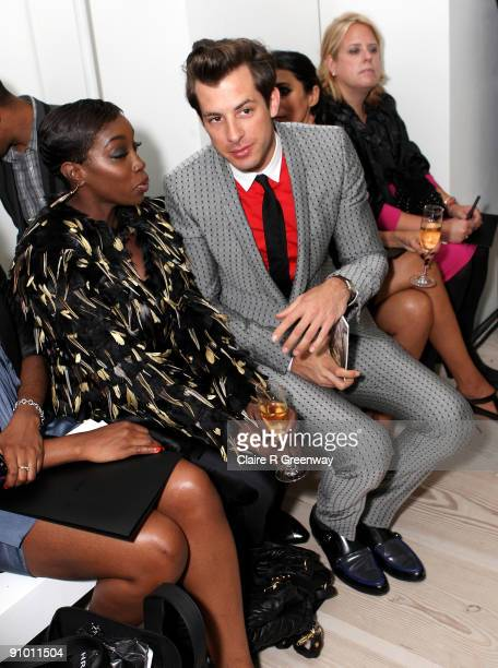 Music producer Mark Ronson and singer Estelle attend the Pringle of Scotland Spring/Summer 2010 show during London Fashion Week at The Saatchi...