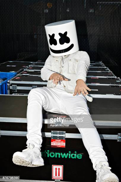 Music producer Marshmello is photographed for Billboard Magazine on August 20 2017 at the Billboard Hot 100 Music Festival at Northwell Heath at...