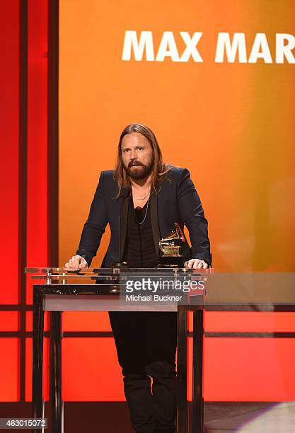 Music producer Max Martin accepts the award for Producer of the Year NonClassical onstage at the Premiere Ceremony during The 57th Annual GRAMMY...