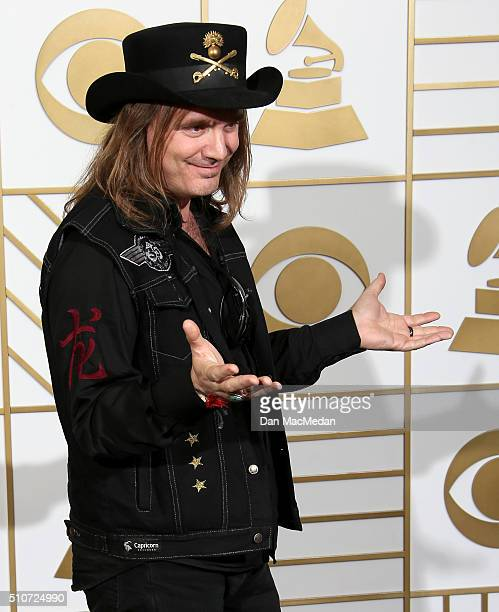 Music producer Paul Inder son of the late musician Lemmy Kilmister from Motorhead poses in the press room during The 58th GRAMMY Awards at Staples...