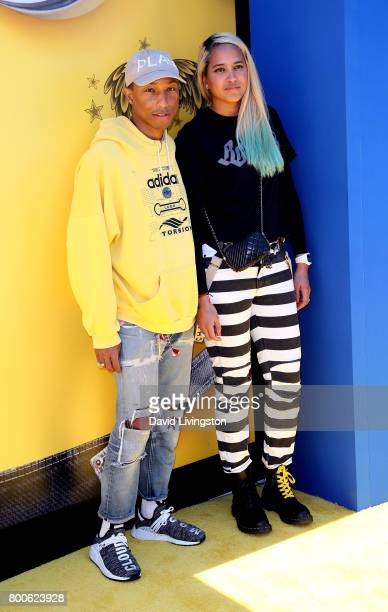 Music producer Pharrell Williams and model Helen Lasichanh attend the premiere of Universal Pictures and Illumination Entertainment's Despicable Me 3...