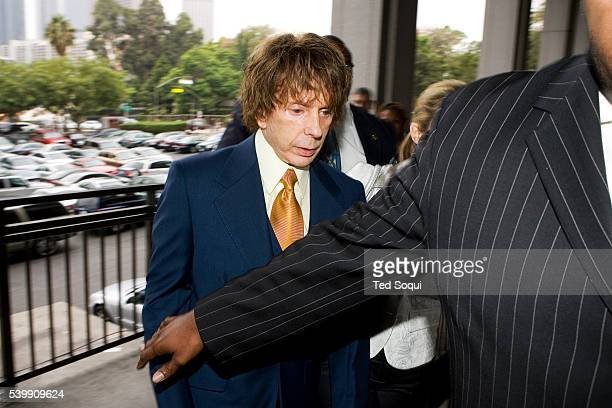Music producer Phil Spector accompanied by his wife Rachelle Spector and bodyguards arrives at the Los Angeles Criminal Courthouse The judge in the...