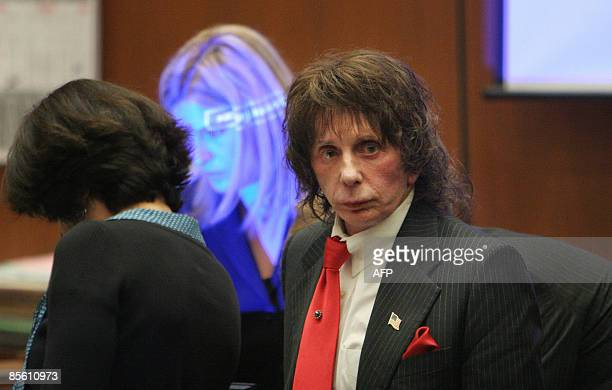 US music producer Phil Spector is seen in court for the second day of the defense closing arguments in his retrial murder case on March 25 2009 in...