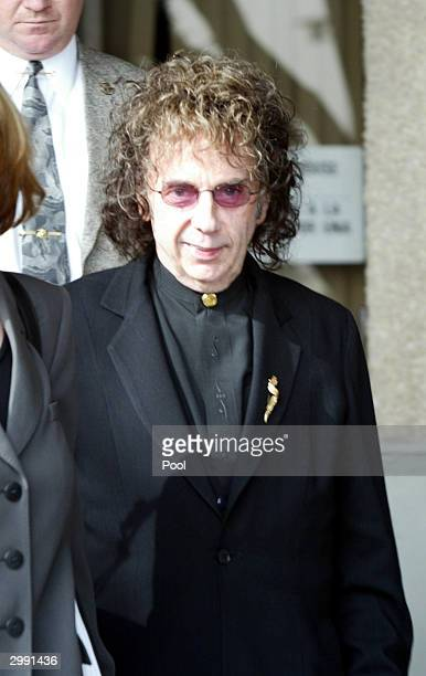 Music producer Phil Spector leaves an evidentiary hearing in Alhambra Municipal Court February 17, 2004 in Alhambra,California. Spector is charged...