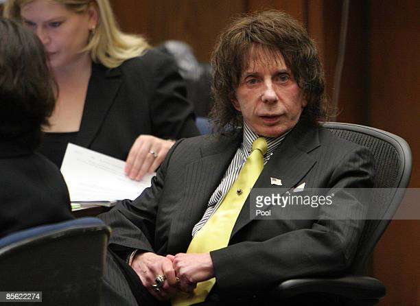 Music producer Phil Spector listens on the last day of the prosecution's final rebuttal during closing arguments in his retrial on murder charges at...