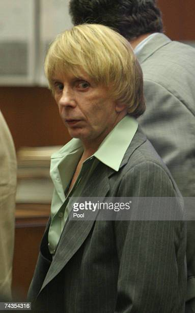 Music producer Phil Spector looks back towards the audience at the end of the day's testimony during his murder trial at Los Angeles Superior Court...