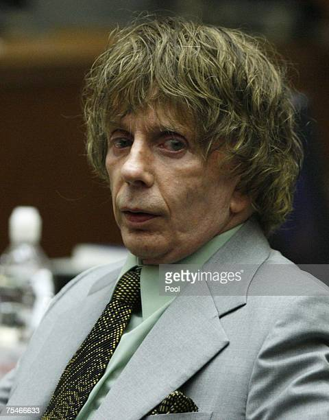 Music producer Phil Spector sits during his murder trial in Superior Court July 18 2007 in Los Angeles California Spector is accused of murdering...