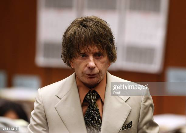 Music producer Phil Spector stands for a break during his murder trial on August 15, 2007 in Los Angeles, California. Spector is accused of fatally...