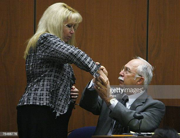 Music producer Phil Spector's attorney Linda Kenney Baden questions forensic specialist James Pex during Spector's murder trial in Superior Court...