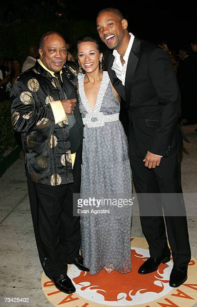 Music producer Quincy Jones actress/daughter Rashida Jones and actor Will Smith arrive at the 2007 Vanity Fair Oscar Party at Mortons on February 25...