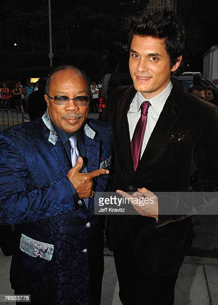 Music producer Quincy Jones and musician John Mayer arrive at VH1's Save The Music 10th Anniversary Gala at The Tent at Lincoln Center on September...