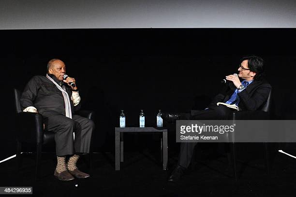 Music producer Quincy Jones and Weekend daytime host of Turner Classic Movies Ben Mankiewicz onstage at 'The Italian Job' Screening during the 2014...