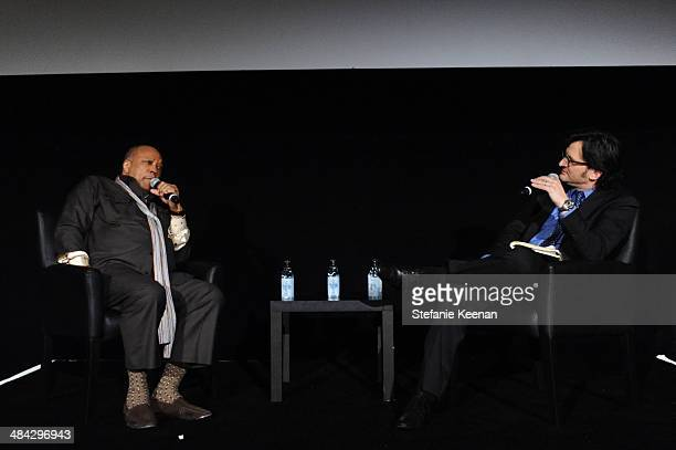 Music producer Quincy Jones and Weekend daytime host of Turner Classic Movies Ben Mankiewicz onstage 'The Italian Job' Screening during the 2014 TCM...