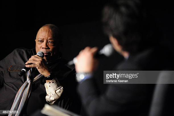Music producer Quincy Jones onstage at 'The Italian Job' Screening during the 2014 TCM Classic Film Festival at The Egyptian Theatre on April 11 2014...