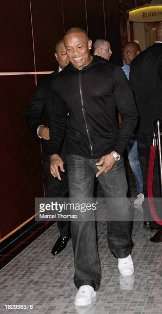 Music producer/ Rapper Dr Dre attends the launch party for Bonita Platinum Tequila at Hyde Bellagio at the Bellagio on March 2 2013 in Las Vegas...