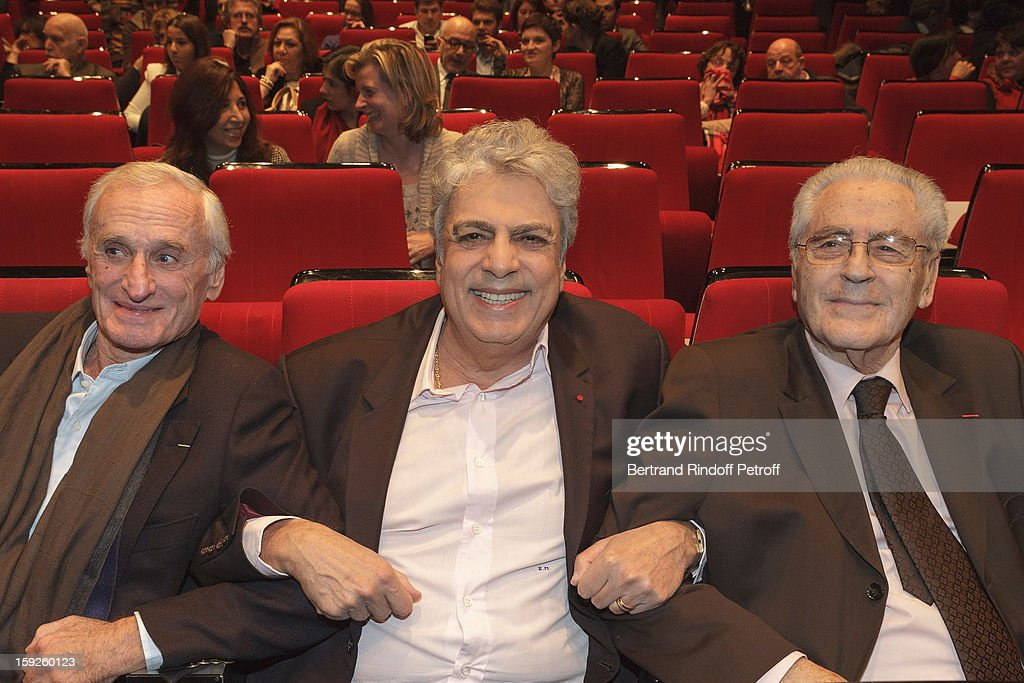 Music producer Regis Talar, singer Enrico Macias and legendary impresario Charley Marouani pose as they attend the screening of 'Enrico Macias, la vie en chansons' (Enrico Macias, life in songs), a documentary by Antoine Casubolo Ferro, at SACEM on January 10, 2013 in Neuilly-sur-Seine, France.