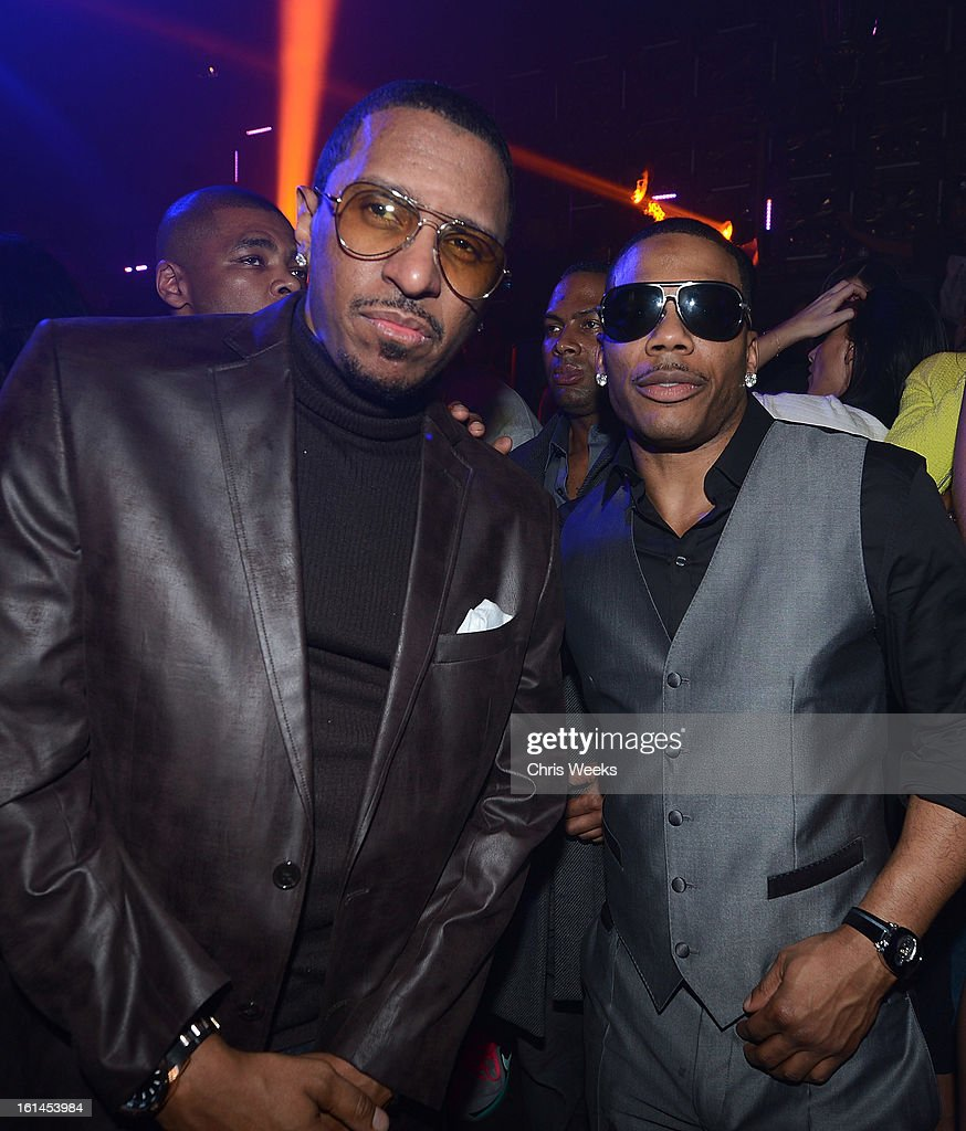 Music recording artist Nelly (R) attends the GREY GOOSE Hosted After Party for Trey Songz at Greystone Manor Supperclub on February 10, 2013 in West Hollywood, California.
