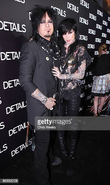 Music recording artist Nicky Sixx and tattoo artist Kat Von D attends a party for the Details magazine Mavericks 2008 issue at a private residence on...