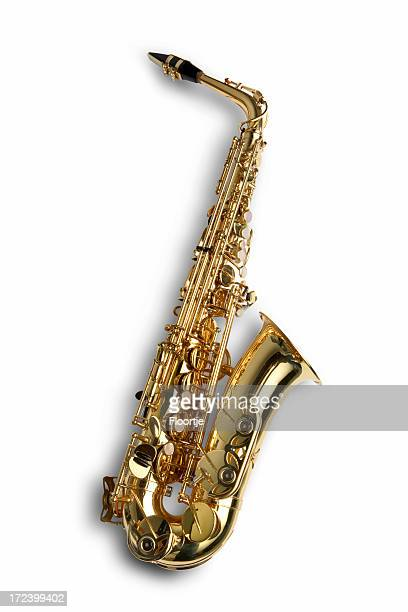 music: saxophone - saxophone stock pictures, royalty-free photos & images