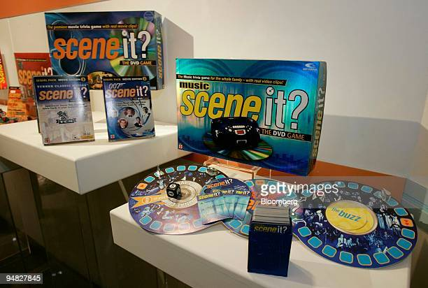 Music Scene it a DVD game right and other variations of the Scene it series sit on display in the Mattel showroom during the International Toy Fair...