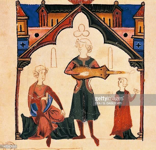 Music scene miniature from Cancioneiro da Ajuda manuscript Portugal 13th Century