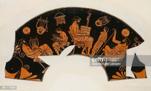 Music school lesson with the Lyre drawing from a vase fragment Greece Greek civilization