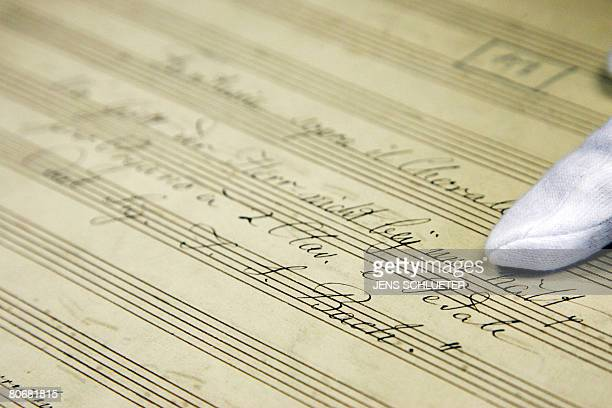 Music scientist Stephan Blaut presents a longlost organ composition by Johann Sebastian Bach on April 15 2008 at the MartinLuther University in Halle...