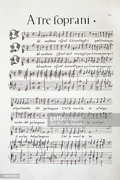 Music score of the Madrigals A Tre Soprani Per Cantare Et Sonare by Luzzasco Luzzaschi composed for the Duke Alfonso d'Este 1601 Milan Biblioteca Del...