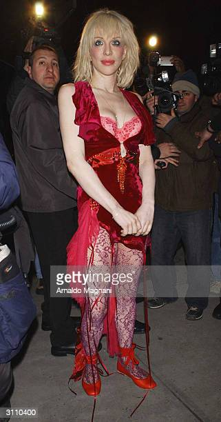 Music star Courtney Love leaves an apartment in SoHo on March 18 2004 in New York City