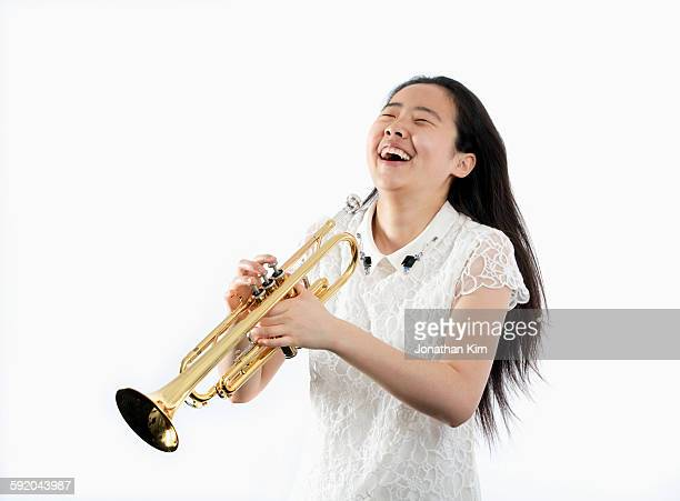 Music student and instrument.
