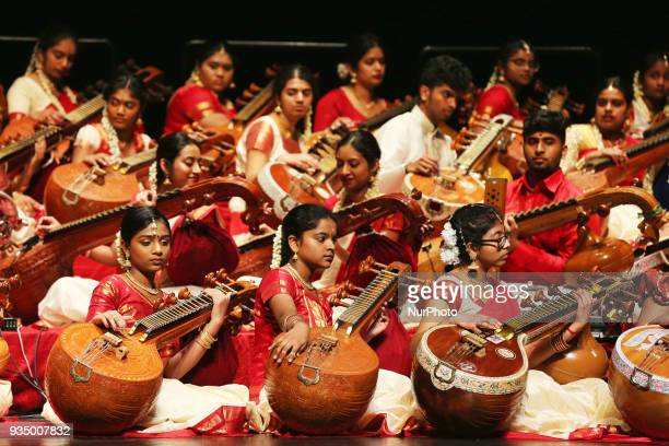 Music students from the Veenalayam Temple of Music perform with world renowned veena artist Rajhesh Vaidhya in Richmond Hill Ontario Canada on March...