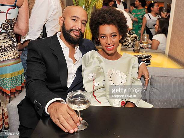 "Music video director Alan Ferguson and singer Solange Knowles attend the after party for the New York Premiere of ""Blue Jasmine"" at Harlow on July..."