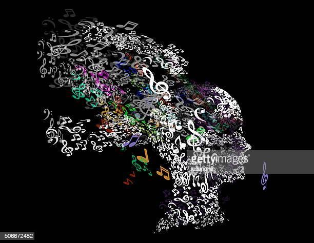 Music woman, musical head and hair