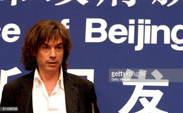 Musical and light artist JeanMichel Jarre launches his forthcoming concert at a press conference on October 7 2004 in Beijing China The concert will...