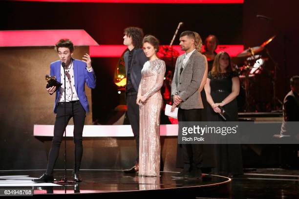 Musical arranger Jacob Collier accepts Best Arrangement Instruments and Vocals award for 'Flinstones' onstage at the Premiere Ceremony during the...