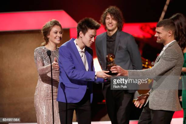 Musical arranger Jacob Collier accepts the Best Arrangement Instrumental or A Cappella award for 'In My Room' onstage at the Premiere Ceremony during...