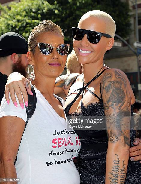 Musical artist Amber Rose and mother Dorothy Rose attend the Amber Rose SlutWalk LA at Pershing Square on October 3 2015 in Los Angeles California